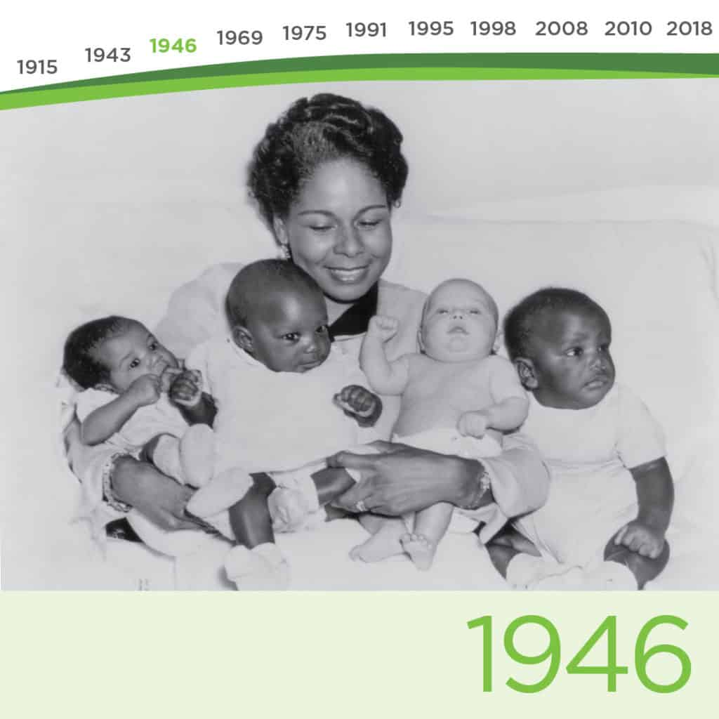 Spence-Chapin 1946 Spence-Chapin begins one of the country's most respected African-American adoption programs, Throughout the 1950s, eminent women such as Eleanor Roosevelt, Marian Anderson and Mrs. Jackie Robinson (above) help promote Spence-Chapin's outreach to African American families.